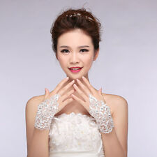 1Pair Sexy Women Girl Lace Beaded Hook Finger Wedding Bridal Party Dress Gloves