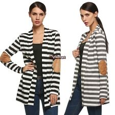 Women Front Open Long Sleeve Striped Loose Casual hip length Cotton Coat 2 color