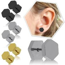 Fakeplugs Earstuds Cheater 8mm Piercing Studs Hexagon Square Steel Tunnel Fake