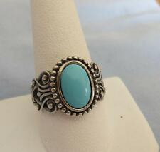 925 Sterling Silver Ornate Ring w/ Faux Turquoise Stone, Size 10, Avon