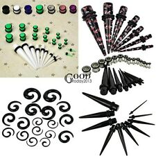 New 23 Pcs Ear Taper+ PLUG Kit 14G-00G 1.6mm-10mm Gauges Expander Set TXGT