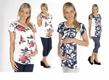 Maternity Shirt Umstand Tunic Blouse Short sleeved Top flower Print Pregnancy