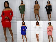 Glamzam New Womens Ladies Bell Sleeve Off Shoulder Bardot Mini Bodycon Dress
