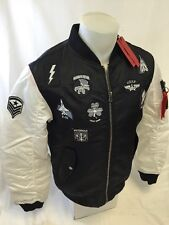MENS VICTORIOUS BOMBER JACKET Urban WindBreaker BLACK AVIATION PATCHES NWT NEW
