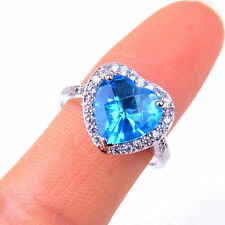 Lovely Bule Crystal Heart 925 Sterling Silver Ring Size 6-9 Jewelry H1097