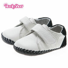 Boys Toddler - REAL Leather Soft Sole Baby Shoes - White