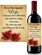 Birthday Wine Bottle Label Personalised for Wife or Husband Sticky Label Gift