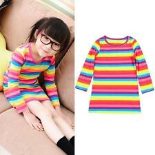 2-11Y Toddler Baby Girl Kid Long Sleeve Striped Tops Party T-Shirt Dress Clothes