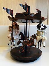 Vintage Music Box Carousel with two Antique German dollhouse Dolls