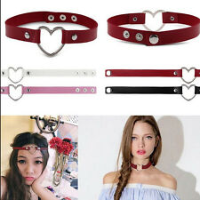 Chain CHIC Rivet Goth Women  Punk Leather O-Ring Heart Collar Choker Necklace