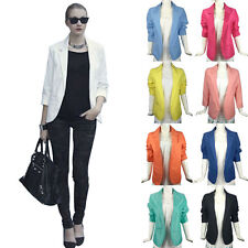 Fashion New Women Color Blazer Jacket Suit Work Casual Long Sleeve Candy Top Hot