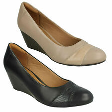 BRIELLE TACHA LADIES CLARKS WEDGE SLIP ON LEATHER OFFICE SMART COURT SHOES