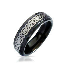 Bling Jewelry Celtic Knot Black Tungsten Wedding Ring 8mm