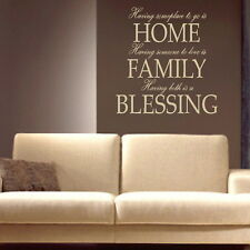 HOME FAMILY BLESSING... wall quote transfer graphic vinyl large sticker niq46