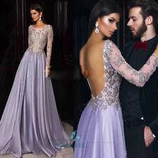 Lilac Backless Evening Dress Sequins Bridesmaid Dress Party Prom Bridal Dresses