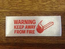 50 or 100  x  KEEP AWAY FROM FIRE  Pre-Cut  Sew-In  Clothing Garment Labels Tags
