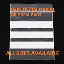 100 Write On Panel Grip Seal Resealable Clear Bags ALL SIZES CHEAPEST