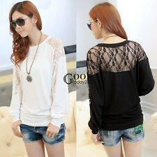 New Sexy Women Batwing Long Sleeve Dolman Lace Splice Loose T-Shirt Blouse Top