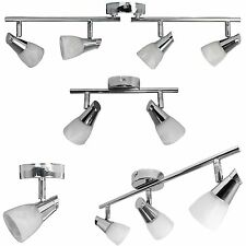 Chrome 1 2 3 or 4 Head Ceiling Spotlight Light Fitting with Opal Glass Shades