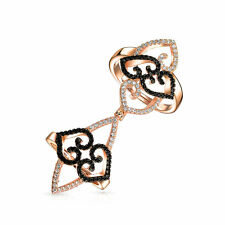 Bling Jewelry Adjustable Rose Gold Plated Full Finger CZ Scroll Heart Ring