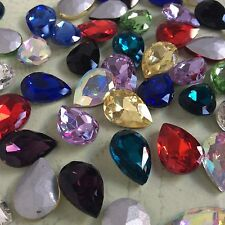 Mixed Colors Teardrop Point back Rhinestones Crystal Glass Strass Chatons U1