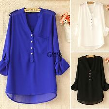 NEW Women V-Neck Asymmetric Hem Pure Color Loose Casual Tops Blouse Chiffon TXGT