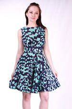 Dorothy Perkins Closet Ladies Navy & Turquoise Print Skater Party Dress Size 8
