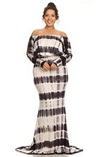 Plus Maxi Dress Tie Dye Off Shoulder Cocktail Gown Long Sleeve Flounce Ruffle