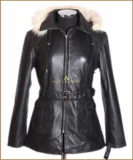 Beyonce Black White Fur Hood Ladies Real Soft Lambskin Leather Hooded Jacket