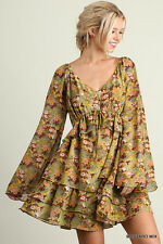 Womens Floral Ruffle Dress Boho Cowgirl Chic Flower Western Swing Umgee  S-M-L
