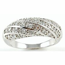 Micro Pave Woven Cz Band 925 Sterling Silver Anniversary Cocktail Ring Woman's