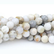 6 8 10mm natural gemstone bamboo agate beads gray round loose bead 15""