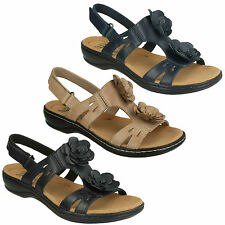 LADIES CLARKS LEISA CLAYTIN FLOWER CASUAL LEATHER SANDALS WOMENS BEACH SHOES