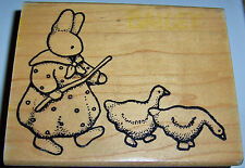 DAISY KINGDOM RUBBER STAMP  RABBIT BUNNY HARE GUIDING TWO GEESE