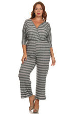 CANARI Gray Striped Jumpsuit 3/4 Sleeve V Neck Surplice Womens Plus Size