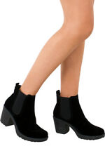 Womens Chunky Grip Block Heeled Ladies New Suede Chelsea Ankle Boots Shoes Size