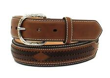 Nocona Western Mens Belt Leather Laced Overlay Conchos Black N2474901
