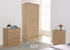 STYLISH OAK TRIO FURNITURE - Soft Close Wardrobe,Chest of Drawers & Bedside