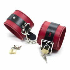 Black on Red Real Leather Hand/Ankle Restraint Cuffs Bondage Fetish w/ Pad Locks