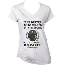 NICCOLO MACHIAVELLI FEARED QUOTE - NEW WHITE COTTON LADY TSHIRT