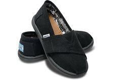 Tiny Toms Classics Black Infant Toddler Baby Boy Girl Canvas Shoes Size 2-11