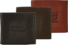 MENS LEVIS BI-FOLD LEATHER CARD & COIN WALLET 222539 - BLACK BROWN TAN