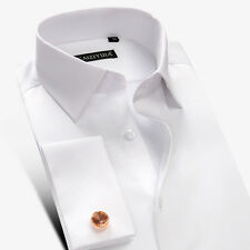 Luxury Brand Mens Dress Shirt Long Sleeve Solid French Cuff Shirt With Cufflinks