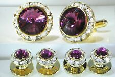 AMETHYST CRYSTAL TUXEDO CUFFLINKS & STUDS SET CUSTOM MADE/W SWAROVSKI CRYSTALS