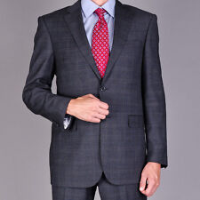 Bertolini Euro Fit Charcoal Windowpane Two Button Two Piece Suit Wool & Silk
