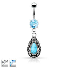 Vintage Turquoise Tear Drop Dangle Belly Button Ring