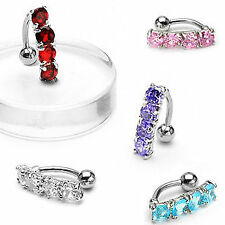 4 Gem Reverse Belly Button Ring