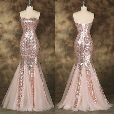 Mermaid Long Sequined Formal Evening Gown Prom Wedding Bridesmaids Party Dress