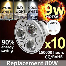 10X GU10 9W LED DIMMABLE SPOTLIGHT DAY LIGHT WARM WHITE NATURAL COOL WHITE BULBS