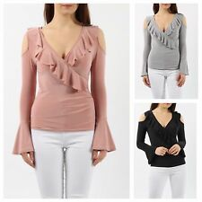 WOMENS LADIES SLINKY WRAP OVER V NECK FRILL LONG SLEEVE CUTOUT COLD SHOULDER TOP